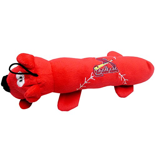 MLB SAINT LOUIS CARDINALS TUBE TOY for DOGS & CATS. SOFT Plush Fun Pet Toy with TWO inner SQUEAKERS.