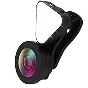 Fisheye Lens, Foneso 3 in 1 Cellphone Lens with Fill Light, 15X Macro Lens, 0.4X - 0.6X Wide Angle Lens and Beauty LED Flash Light for iPhone 7, 6s, 6, Samsung and Most Smartphones