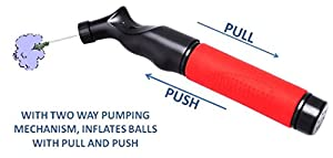 Sports Ball Pump Inflator with 5 needle (Pin) and Pouch, Dual Action Hand Held Portable Air Ball Pump with pins to Inflate Athletic Soccer Ball, Football, Volleyball, Rugby-Ball, and Basketball by VALIANT.