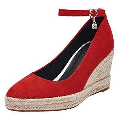 BeiaMina Women Fashion Wedge Heel Ankle Strap Pumps Platform Round Toe Mother Shoes Weave Heels Red Size 33 Asian
