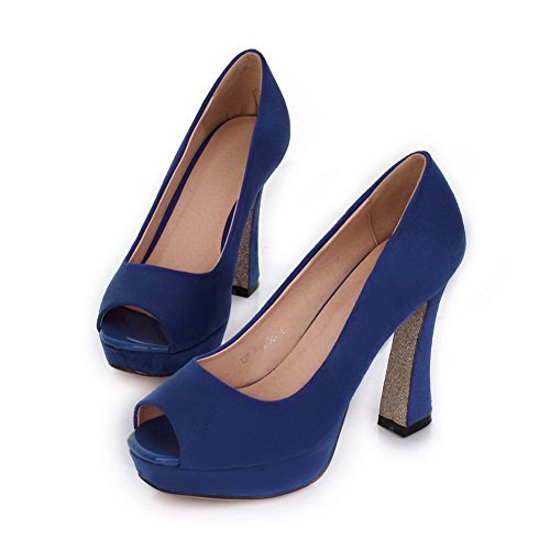 VogueZone009 Womens Open Peep Toe High Heel Platform Chunky Heels PU Frosted Solid Pumps, Blue, 5 UK