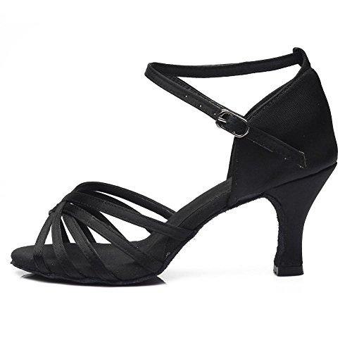 YFF Frauen Tango/Ballsaal/Latin Dance Tanz Schuhe hochhackige Salsa professionelle Tanz Schuhe für Mädchen Damen 5 cm/7 cm,5 cm Heels Schwarz,7.