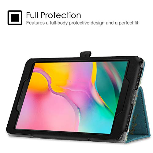 Fintie Folio Case for Samsung Galaxy Tab A 8.0 2019 Without S Pen Model (SM-T290 Wi-Fi, SM-T295 LTE), [Corner Protection] Slim Fit Premium Vegan Leather Stand Cover, Blossom