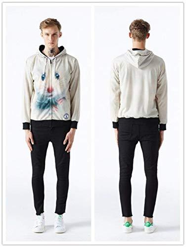 Giacche Cappuccio Unisex Con A M Laterali Size Maniche Colour Tasche Digitale 19 3d Stampa Hop Animal color Lunghe Semplice Outwear Hip Stile r5qrt