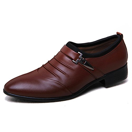 Xmwealthy Mens Monk Strap Slip On Oxford Scarpe Eleganti Marrone