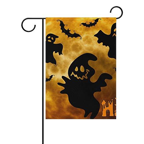 LONK Garden Flag Funny Full Moon Night Ghosts Halloween Yard Banner Double Side Print 28 x 40 & 12 x 18 Inch
