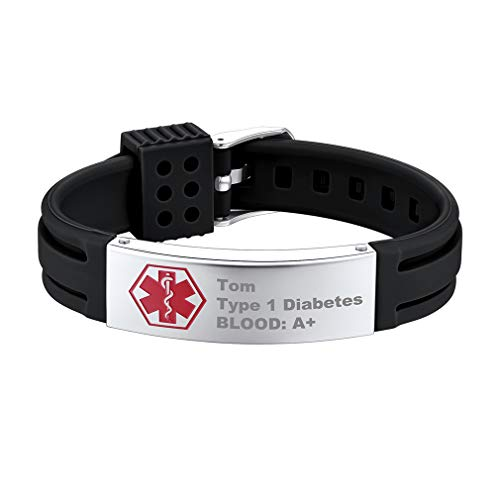 Supcare Personalized Silicone Medical Alert ID Bracelet Jewelry Stainless Steel, Medical Emergency Identification Bangle Bracelet with Black Adjustable Silicone Band