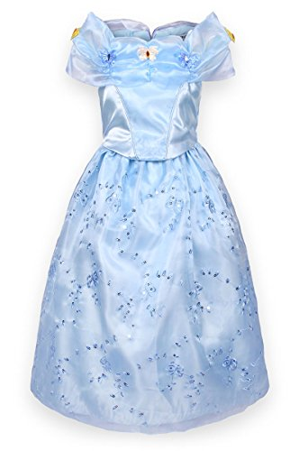 JerrisApparel New Cinderella Dress Princess Costume Butterfly Girl (5 Years, Light Blue)]()