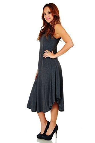 Small Ravishing Rounded Charcoal Mid Spaghetti Hem Size Strap Dress 5X Simply Maxi Length 1afTqa