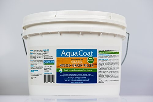 Aqua Coat, Best Wood Grain Filler. Clear Gel, Water Based, Low Odor, Fast Drying, Non Toxic, Environmentally Safe. Gallon.