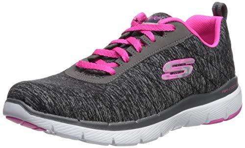 Skechers Women's Flex Appeal 3.0 Sneaker, Black hot Pink, 10 M US