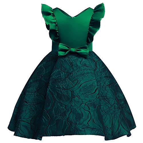 Tsyllyp Girls Dress Fluffy Sleeve Kids Holiday Christmas Party Flower Dresses Green