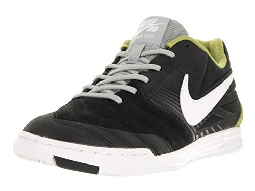 NIKE Men's SB Lunar Gato Black/White Venom Green BS Gry Skate Shoe 11.5