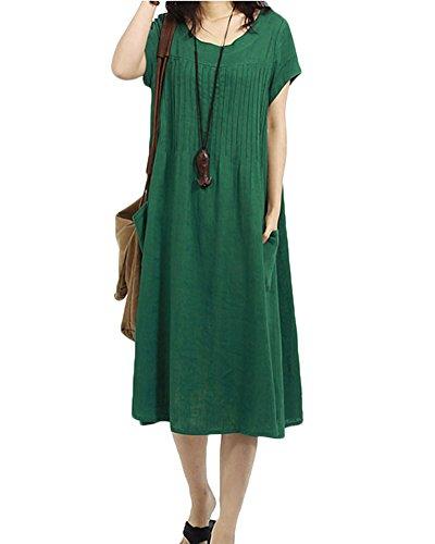 Penggenga Abito Donna Elegante Girocollo Lino Vestiti Manica Sciolto Casual Cocktail Verde Corta Oversized Magliette 8n0kXwOZNP