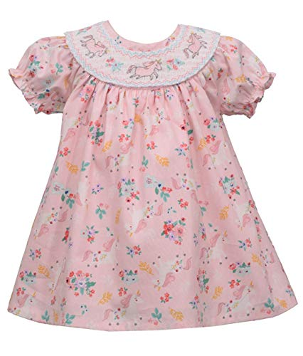Bonnie Jean Easter Dress - Smocked Spring Summer Dress for Baby Toddler and Little Girls (4T, Pink Unicorn) from Bonnie Jean