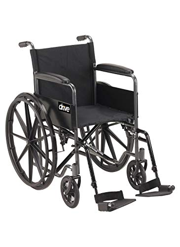 Drive Medical Silver Sport 1 Wheelchair with Full Arms and Swing Away Removable ()