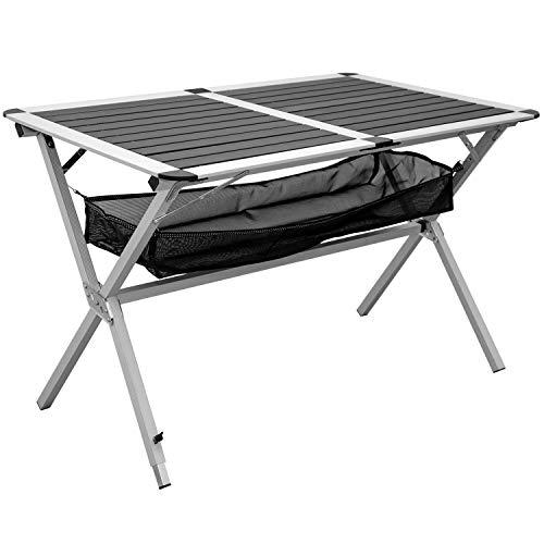 AMANKA Aluminium Campingtafel 110×70 cm – Klaptafel Vouwtafel opbergnet Roltafel Antraciet