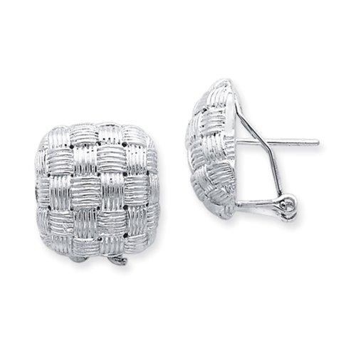Basket Weave Button - Sterling Silver Square Basket Weave Button Earrings