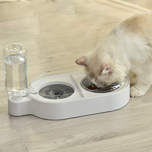 ELSPET 2 in1 Cats Gravity Waterer/Cats Food Bowl, Anti-Spill Raised Side/Anti-Slip Base, Pet Automatic Water Dispenser with Detachable Glass Bowl and 500ml/17 oz Water Bottle for Cats and Small Dogs