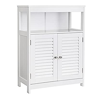 SONGMICS Bathroom Cabinet Storage Floor Cabinet Free Standing with Double Shutter Door and Adjustable Shelf White UBBC40WT