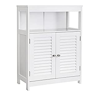 VASAGLE Bathroom Storage Floor Cabinet Free Standing with Double Shutter Door and Adjustable Shelf White UBBC40WT