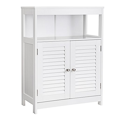 SONGMICS Bathroom Cabinet Storage Floor Cabinet Free Standing with Double Shutter Door and Adjustable Shelf White (Bathroom Floors)