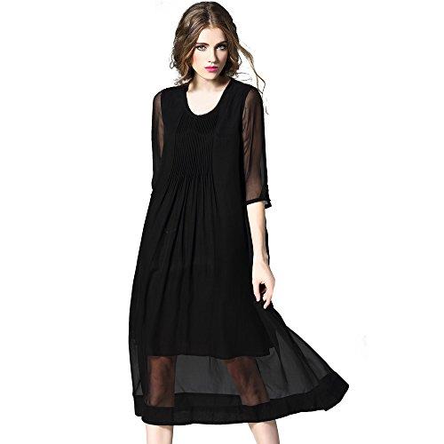 Difaner Robes Longues En Soie Femmes Manches 3/4 Col Ras Du Cou Robe Froncée De Noir