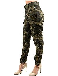 Women's High Waist Slim Fit Jogger Cargo Camo Pants for Women with Matching Belt