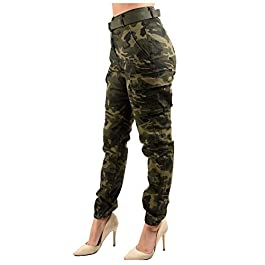 Women's High Rise Slim Fit Color Jogger Pants Matching Belt