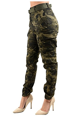 TwiinSisters Women's High Rise Slim Fit Color Jogger Pants with Matching Belt - Size Small to 3X (Small, Camo Cargo Olive #Rjj2036) -