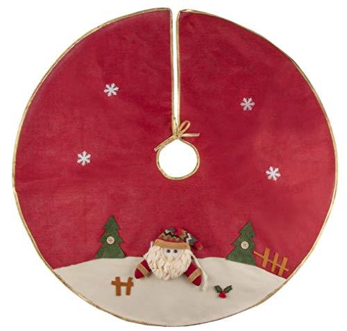 Juvale Red Christmas Tree Skirt - Winter Holiday Vintage Decoration, 35-Inch Skirt with Gold Trim, Plush Santa Face, Mini Snowflakes, Classic Design Indoor Festive Season Decor