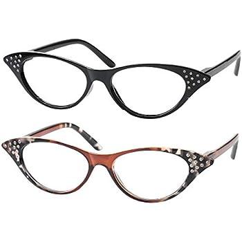 c87b9a9e88 SOOLALA Womens Fashion Designer Rhinestone Cat Eye Magnifying Reading  Glasses (2 Pairs Mixed Colors