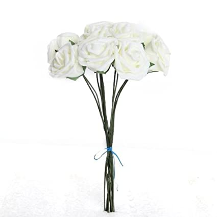 Bouquet 10pcs Fleur Artificiel Rose En Mousse Blanc Du Lait Deco