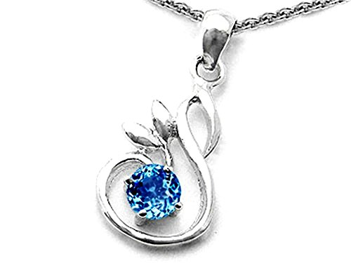 Star K Round Simulated Blue-Topaz Swan P - Spinel Stone Pendant Shopping Results