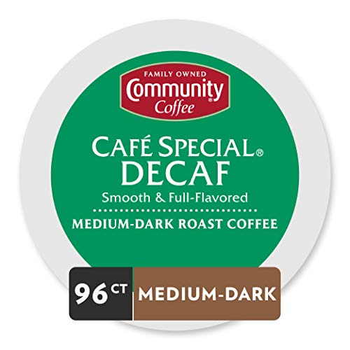 Community Coffee Café Special Decaf Single Serve Pods, Compatible with Keurig 2.0 K Cup Brewers, 24 Count (Pack of 4)