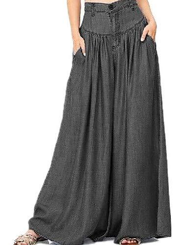 YFLTZ Pantalon  Jambe Large/Jeans en Coton pour Femme Taille Plus Active - Couleur Unie Noir et Blanc, Pompon Black