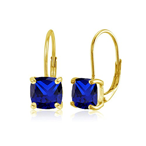 Yellow Gold Flashed Sterling Silver Created Blue Sapphire 7x7mm Cushion-Cut Leverback Earrings