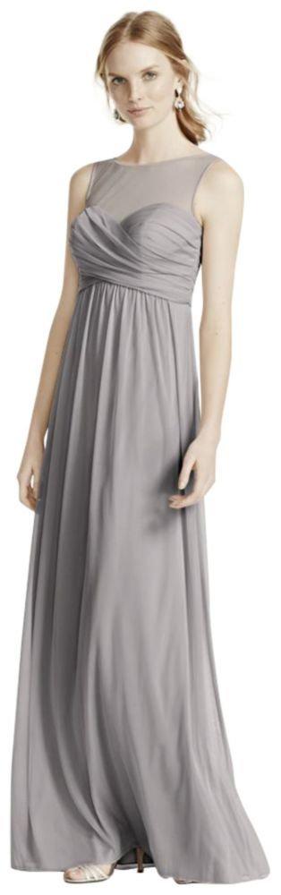 Long Mesh Bridesmaid Dress With Illusion Neckline Style F15927, Mercury, 10