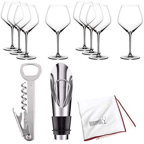 Riedel Extreme Crystal Pinot Noir Wine Glass, Set of 8 Includes Wine Pourer with Stopper, and Polishing Cloth