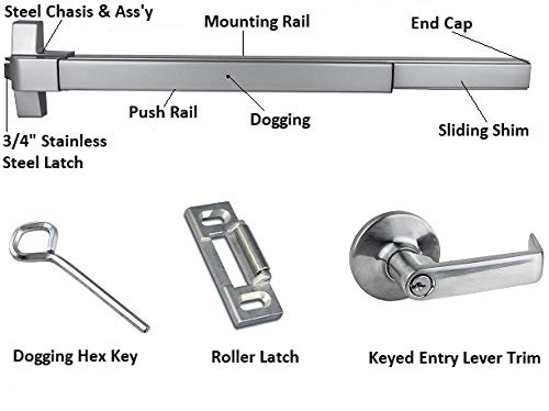 Push Bar Panic Exit Device, (UL listed) with Exterior Lever by Deals On Wings (Image #3)