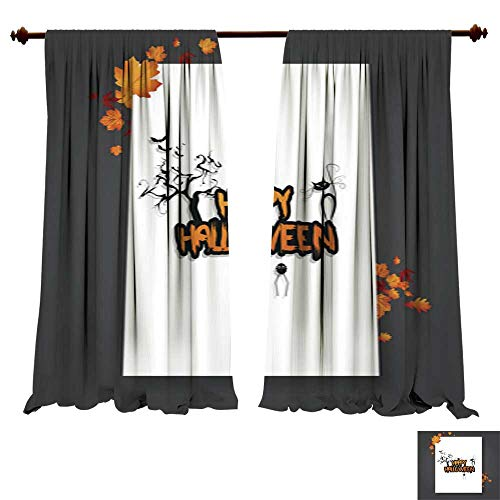 DragonBuildingMaterials Window Curtains for Bedroom Halloween Vector Poster Flyer with Autumn Leaves and Happy Halloween Lettering with Grungy Font Art Pictures Prints Fashion Style