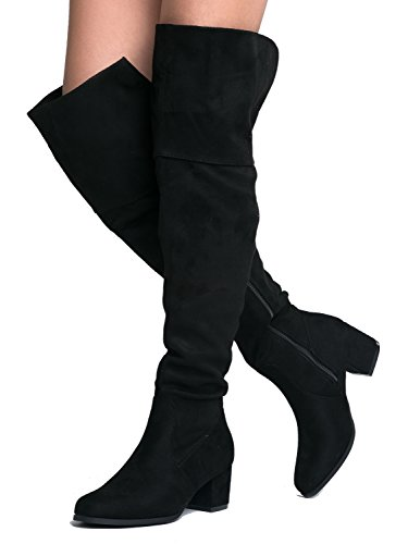 Over Heel Brandy Easy J Shoe Trendy Knee Block Adams Suede Thigh Low Boot Black High The Heel Vegan by Suede fq77RpcaS