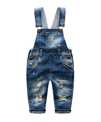 Tortor 1Bacha Baby Little Boys' Distressed Ripped Denim Bib Overall 24M Denim Toddler Bib