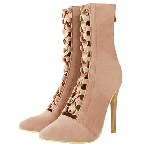 Kolnoo Fashion Femmes Talon Sittleto Party Court à Pointu Bout Prom Chaussures Bottines Brown rrndSwxqPR