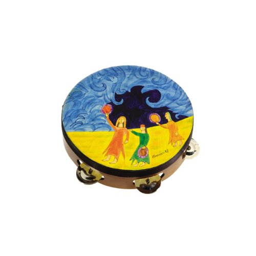 Yair Emanuel Leather Tambourine - Miriam Dancing Design (TM-4) by Yair Emanuel