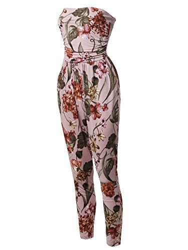 Stripe Mauve Floral - Casual Cute Sexy Side Pockets Stretchable Floral Tube Top Jumpsuit Mauve L