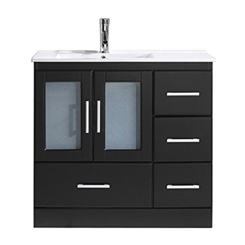 - Virtu USA Zola 36 inch Single Sink Bathroom Vanity Set in Espresso w/ Integrated Square Sink, Slim White Ceramic Countertop, Single Hole Brushed Nickel, 1 Mirror - MS-6736-C-ES-001