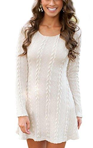 manica moda O collo cooshional lunga Beige mini Donna vestiti maglioni maglieria qwIwxXtz