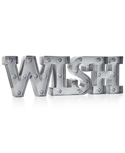 WISH Light Up Marquee Sign Silver with 24 lights & 6 hour timer battery - Sign Christmas Words