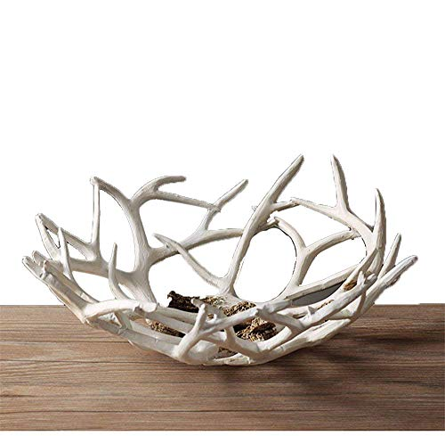 Art Reindeer Deer Antlers Organic Fruit Basket Bowl Artificial Decorative Gift Tray White Rack Drying Decor Fresh Large Storage Stand Plate Holder Shelf Vintage Round Display Container (Deer White) ()